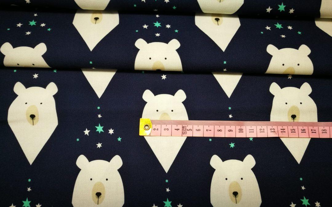Bawełna premium wzór niedźwiedzie na granacie