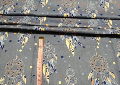 Bawełna wzór łapacze snów na jeansowym tle