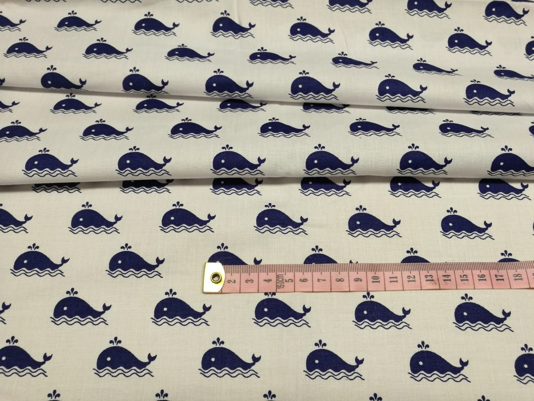 Bawełna wzór wieloryby