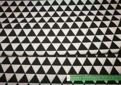 Bawełna wzór trójkąty biało czarne