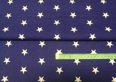 Bawełna wzór białe gwiazdy na granatowym