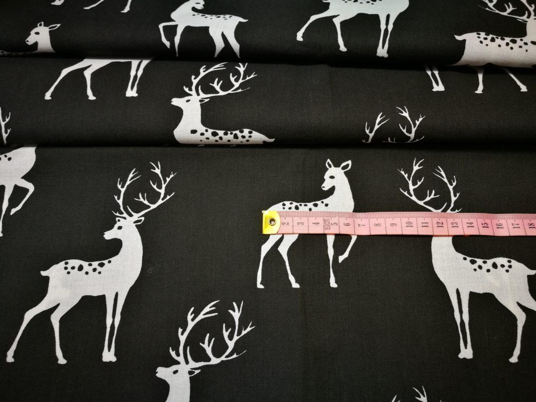 Bawełna wzór białe jelenie na czarnym tle