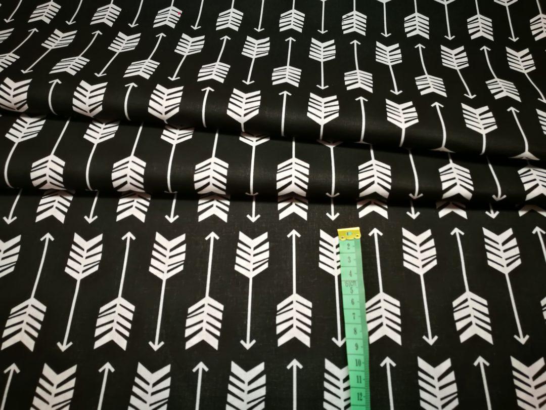 Bawełna wzór białe strzały na czarnym