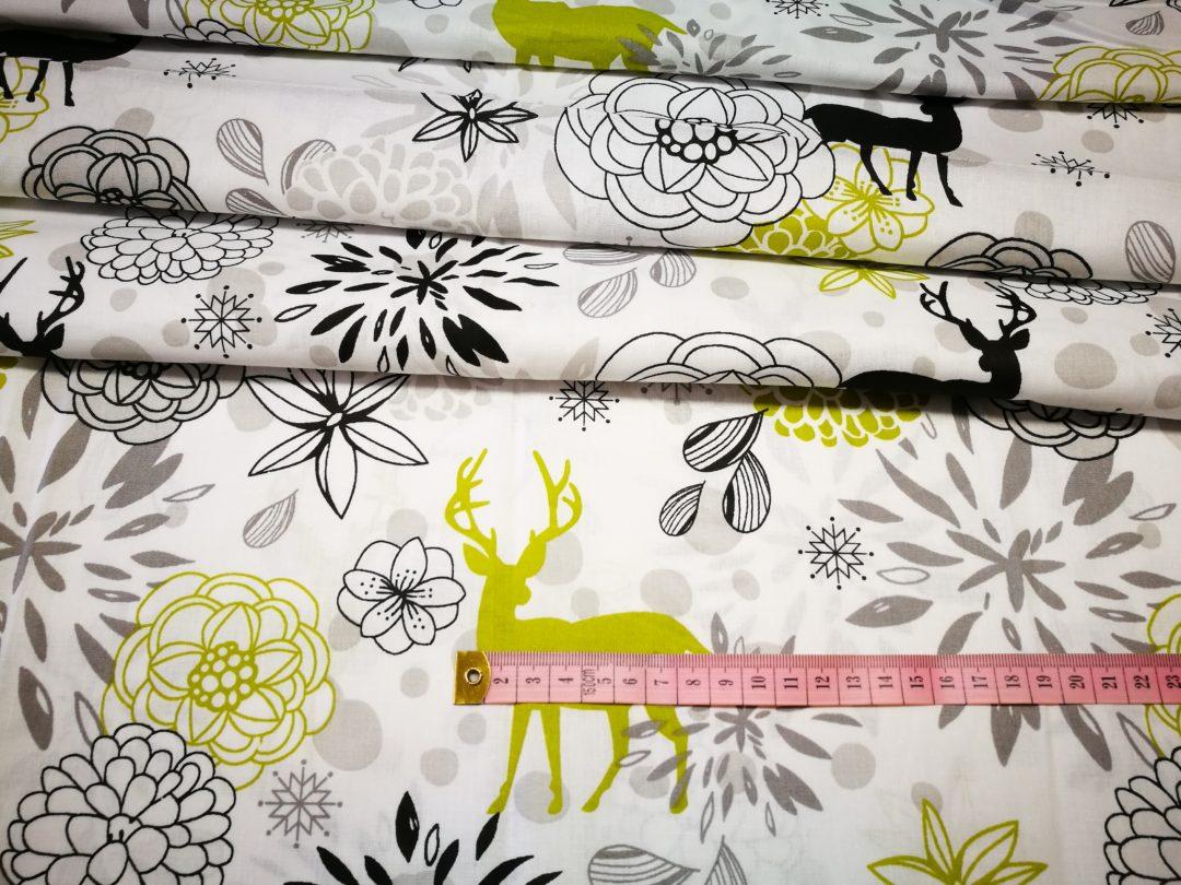 Bawełna wzór limonkowo czarne jelenie