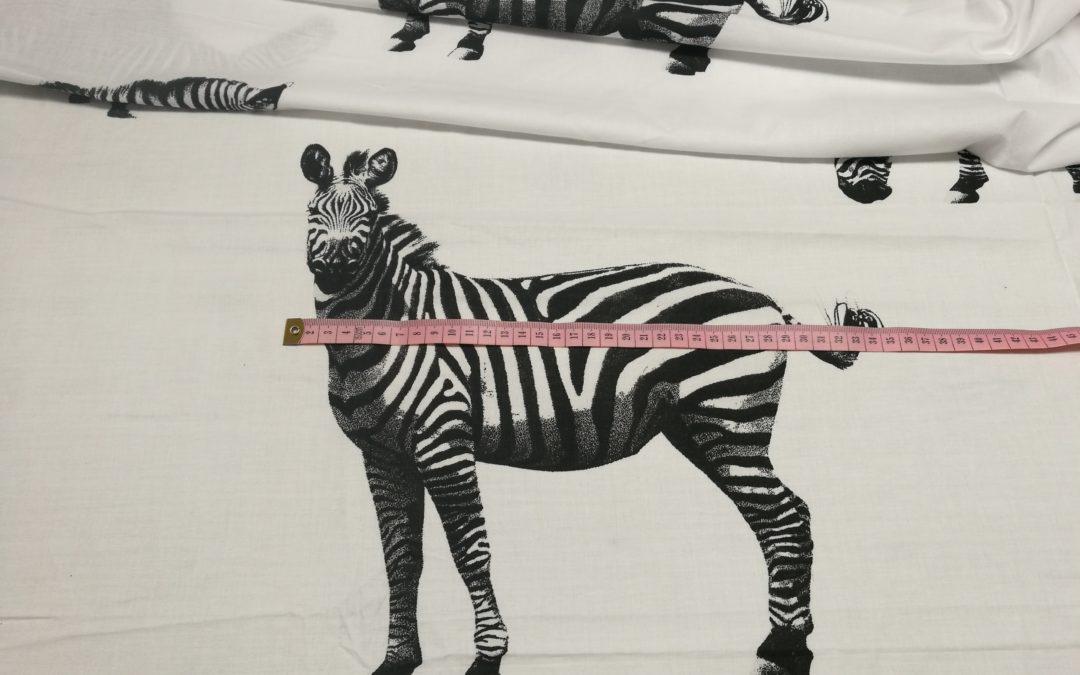 Bawełna wzór zebry na białym