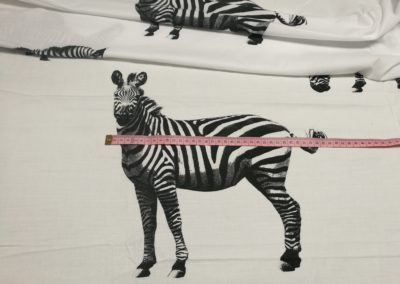 Bawełna wzór zebry n abiałym
