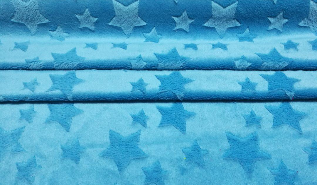 Minky gwiazdki niebieski