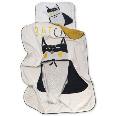 kontrastowy zestaw kocyk+poduszka- Bat Cat
