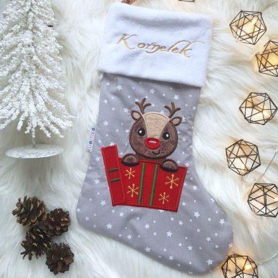 Skarpeta świąteczna na prezenty z personalizacją Reniferek